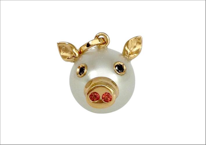 Elisa Pozza di Petronilla, ciondolo in oro, perla, zaffiri, diamanti