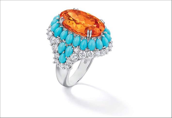 Anello con granato mandarino, turchesi e diamanti