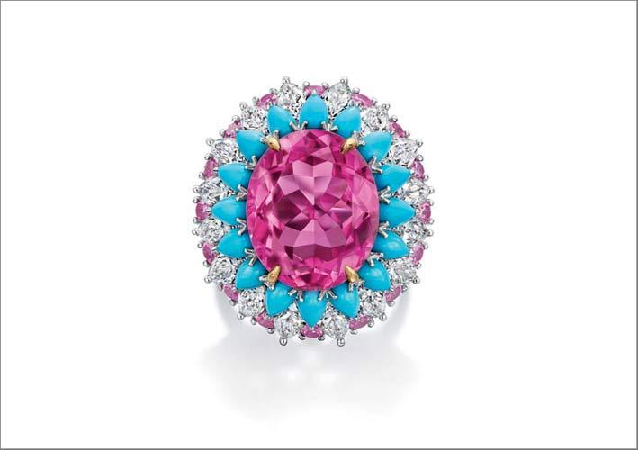 Anello con tormalina rosa, turchesi e diamanti
