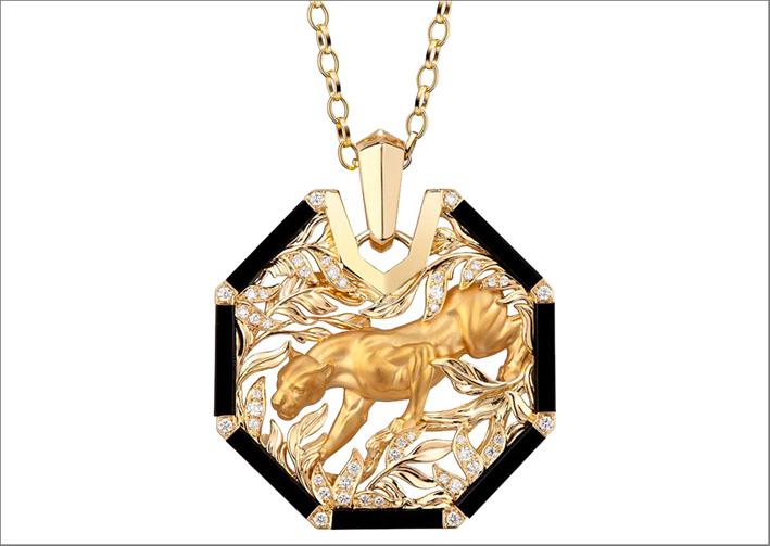 Bracciale Shadow in oro giallo, onice, diamanti