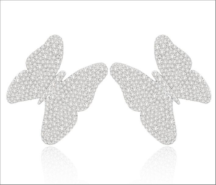 Sutra, collezione Butterfly, orecchini in oro bianco e diamanti