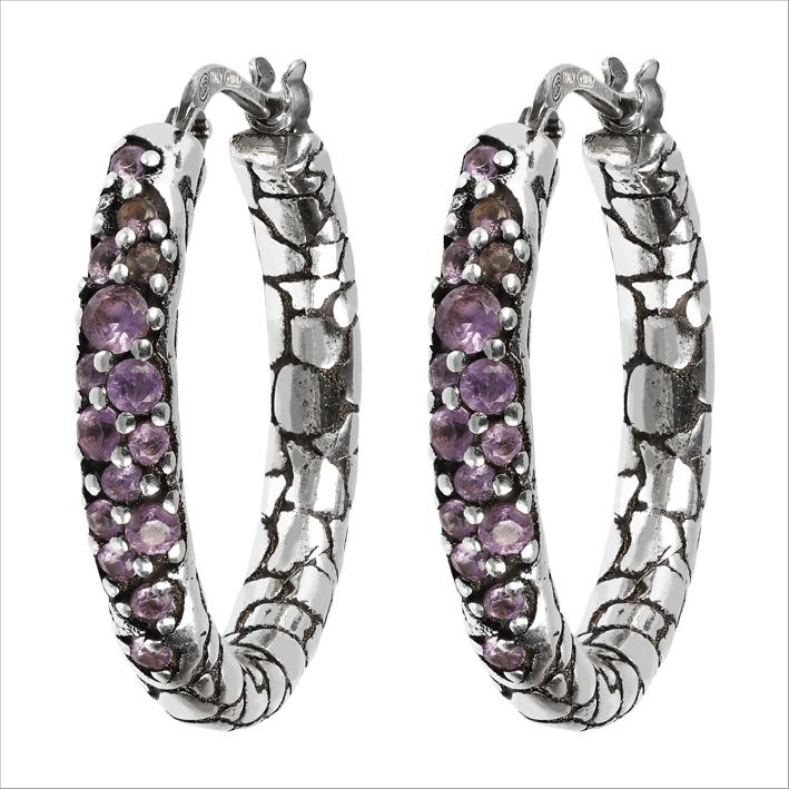 Orecchini in argento e granati viola