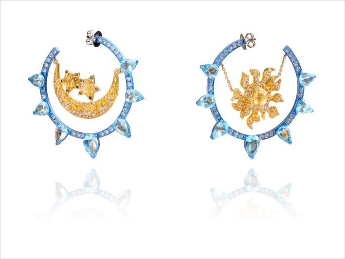 Earrings with Yellow Gold 18k, Bleu Titane , Aquamarine, Sapphires, Yellow Sapphires, Quartz cheveux de Vénus