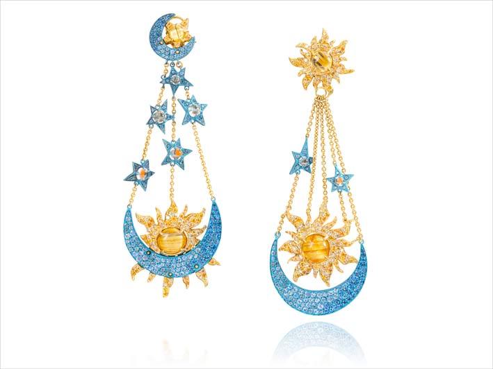 Orecchini pendenti con Yellow Gold 18k, Bleu Titane , Aquamarine, Sapphires, Yellow Sapphires, Quartz cheveux de Vénus