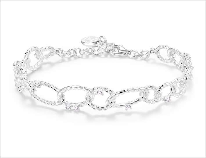 Rosato, bracciale in argento con cubic zirconia
