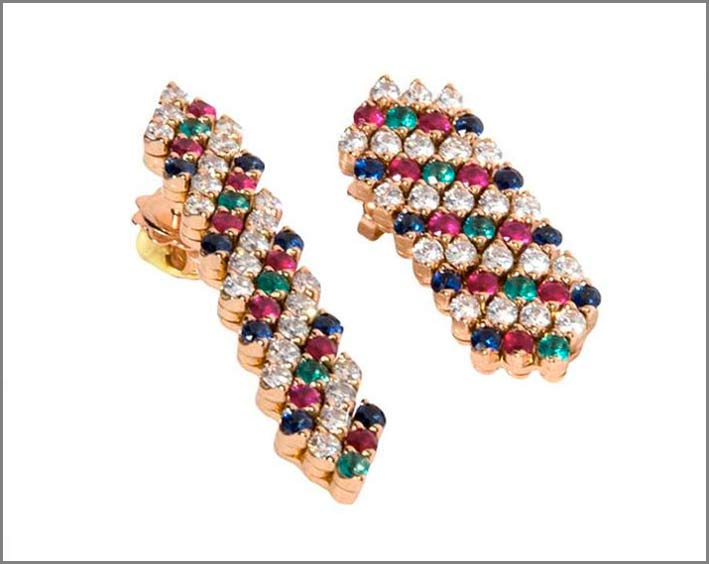 Serafino Consoli, orecchini con diamanti, rubini, smeraldi, zaffiri