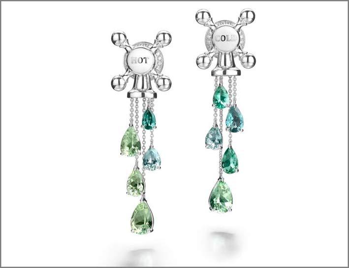 Suzanne Syz, orecchini a forma di rubinetto con tormalina paraiba e diamanti