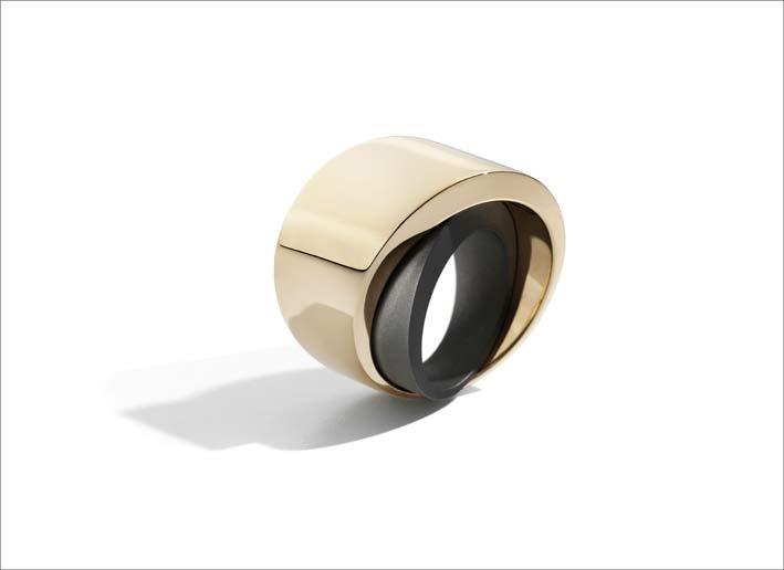Vhernier, Tourbillon ring, rose gold, titanium