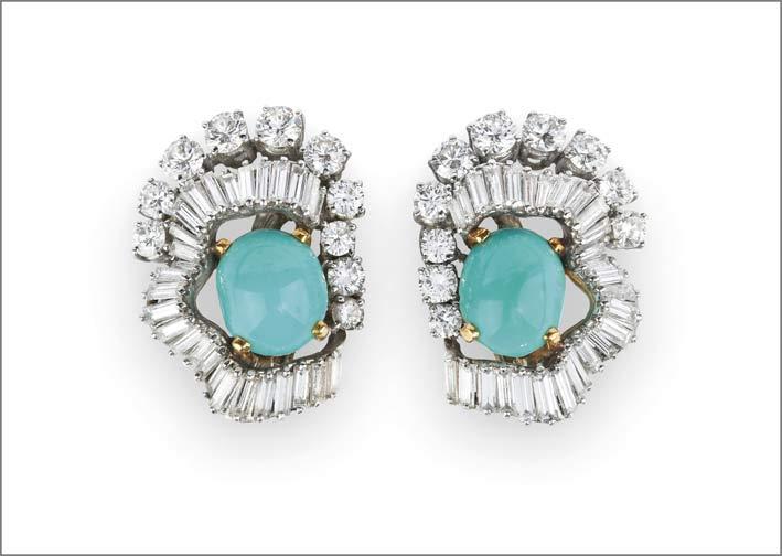Orecchini della demi parure di Boucheron con diamanti baguette e turchesi