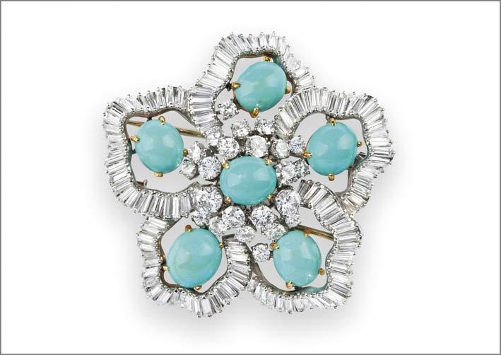 Pendente spilla di Boucheron con diamanti taglio brillante e baguette e turchesi taglio ovale