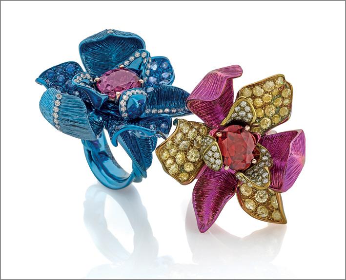 Anello titanio, diamanti, zaffiri blu, tormalina rosa. Anello titanio, diamanti, diamanti gialli, rodolite