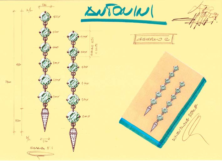 Schizzi preparatori degli orecchini