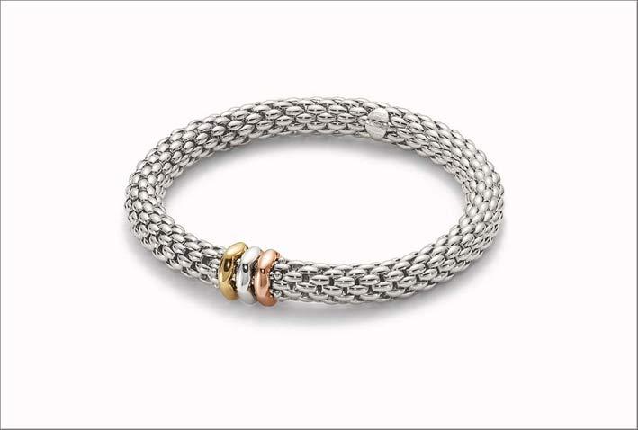 Collezione Love Nest, bracciale flessibile in oro 18 carati con rondelle in oro giallo, rosa e bianco