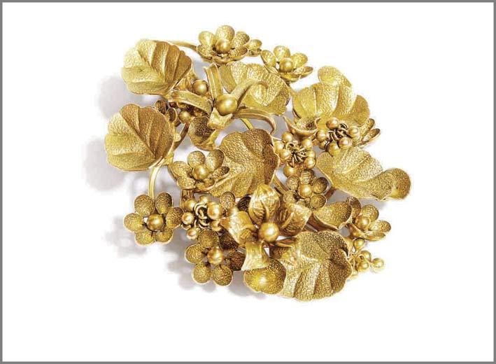 Flowery Spell, bracciale a motivo floreale in oro 22 carati