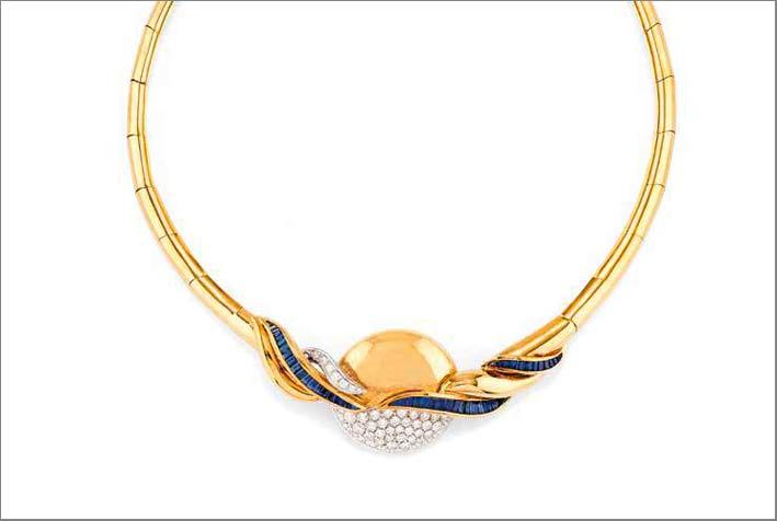 Girocollo in diamanti e zaffiri  di Salvatore Arzani su disegno di Renzo Arbore