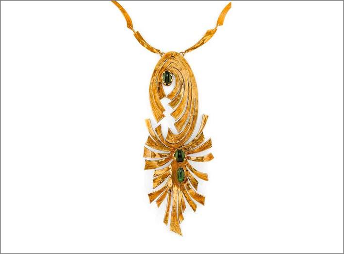 Collana in oro giallo e tormaline verdi di Esa d'Albisola