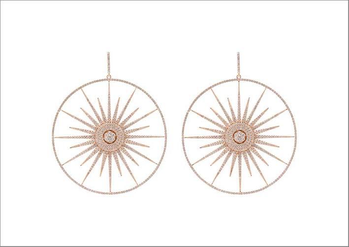 Grandi orecchini Soleil in oro rosa e diamanti