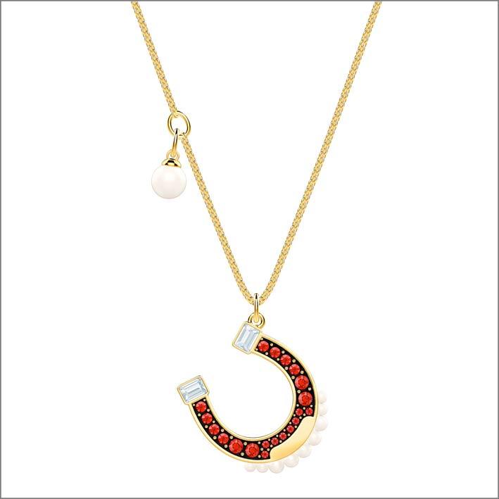 Swarovski, collana con pendente ferro di cavallo