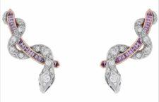 Garrard, orecchini in oro bianco, diamanti, zaffiri viola