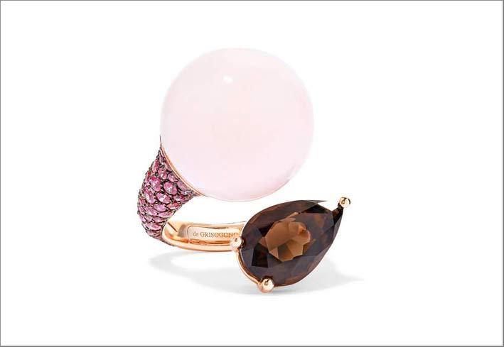 Collezione Boule, anello con opale rosa, quarzo fumé, zaffiri fucsia