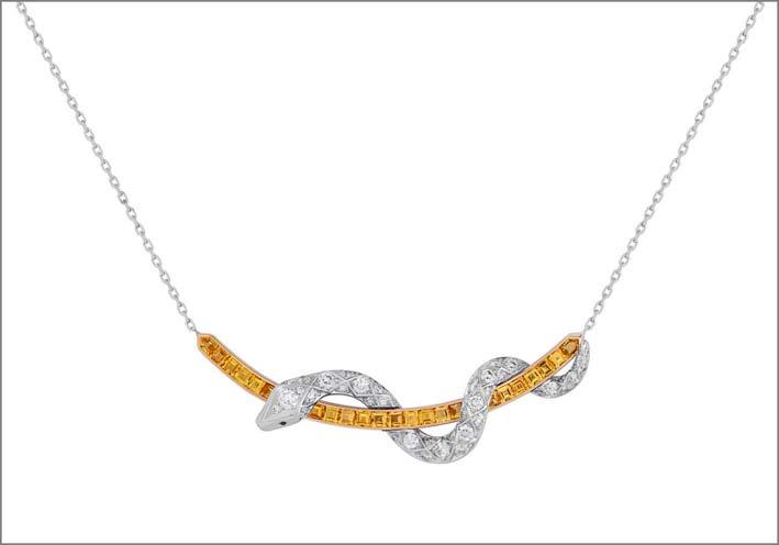 Collezione Muse, linea Signature, collana in oro bianco, diamanti, zaffiri gialli