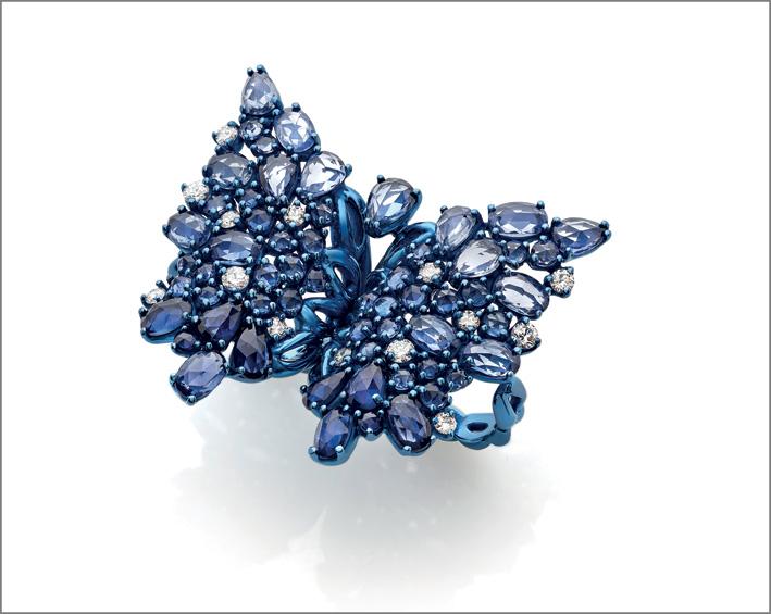 Anello titanio, diamanti, zaffiri blu