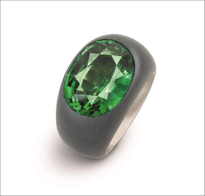 Hemmerle, anello in alluminio con tsavorite
