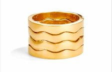 Menē, anello Wave Stacking in oro 24 carati
