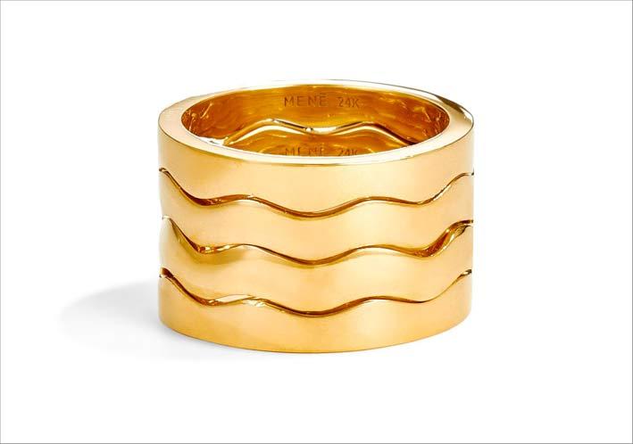 Anello Wave Stacking in oro 24 carati
