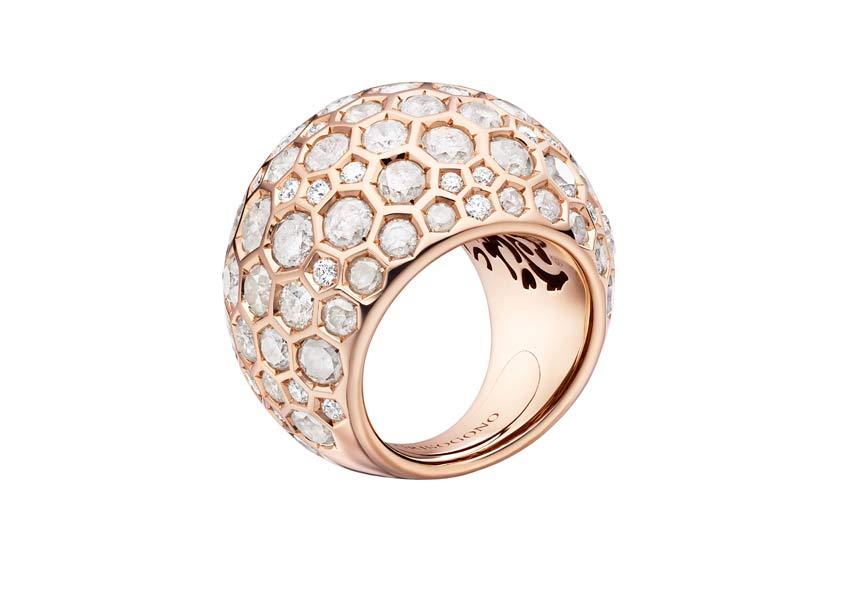 Anello Boule classico in oro rosa e diamanti