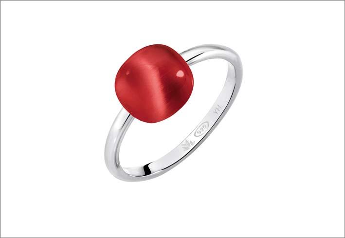 Morellato, anello in argento con pietra rossa