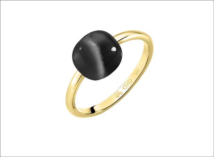 Morellato, anello in argento con pietra nera
