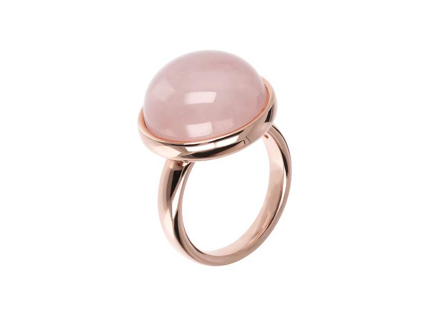 Anello con quarzo rosa cabochon