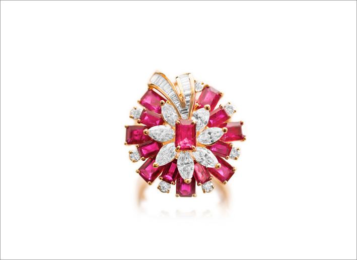 Anelo in oro, diamanti e rubini