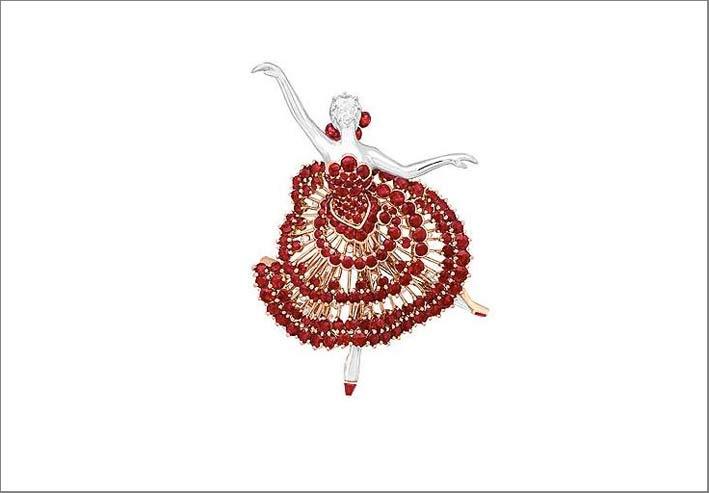 Clip con ballerina in oro e rubini