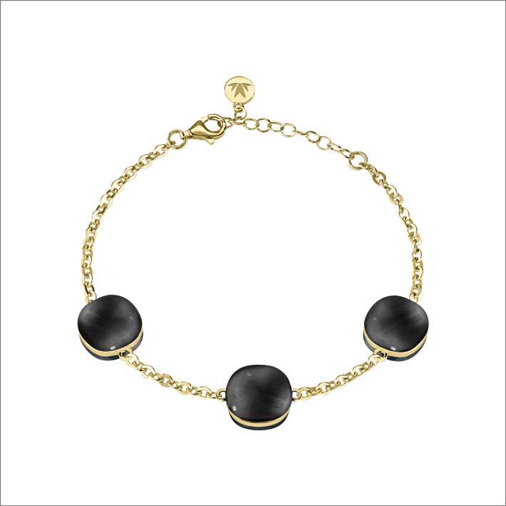 Bracciale in argento con pietra nera