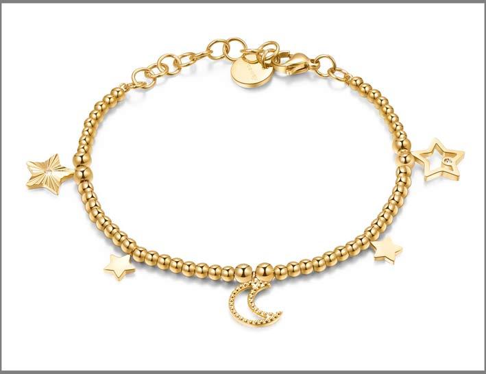 Bracciale con perline in acciaio della collezione Chant