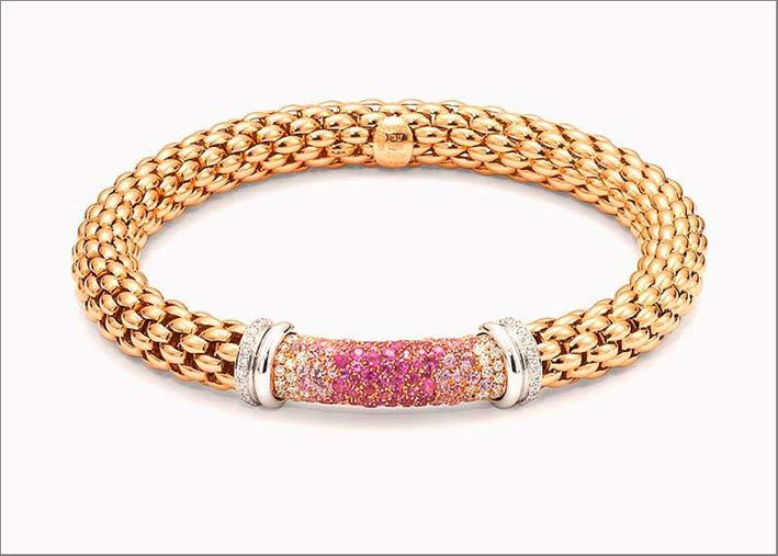 Bracciale flessibile in oro con pavé di zaffiri