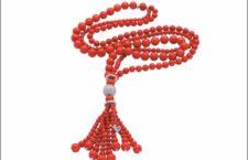 Chantecler, sautoir di corallo rosso e diamanti