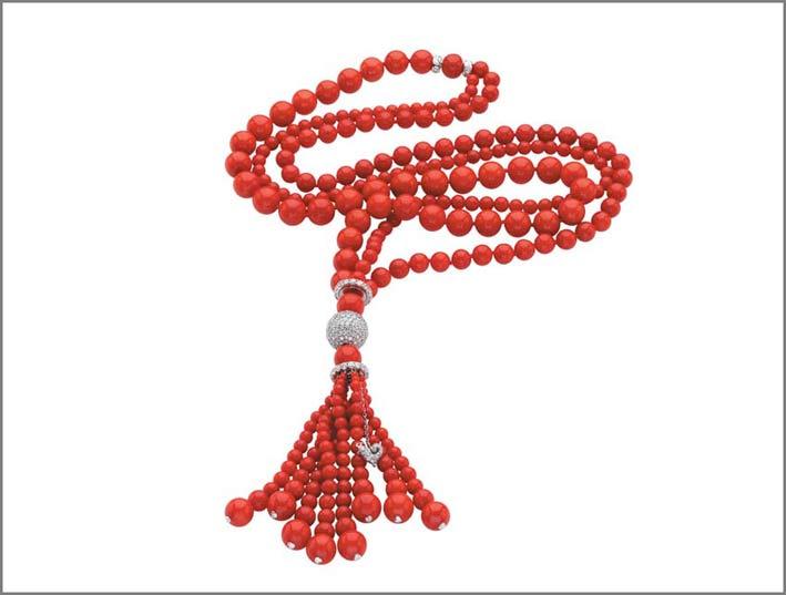 Sautoir di corallo rosso e diamanti