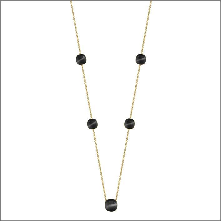 Collana lunga in argento con pietra nera