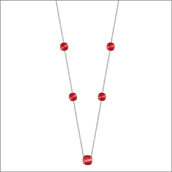 Collana lunga in argento con pietra rossa