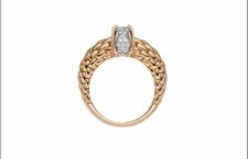 Fope anello Love Nest in oro rosa e diamanti