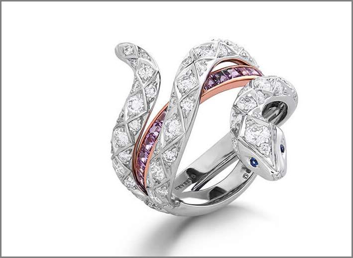 Garrard, anello in oro bianco, diamanti, zaffiri viola