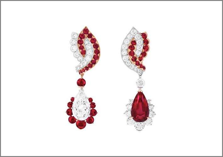 Orecchini con diamanti e rubini, i pendenti sono removibili