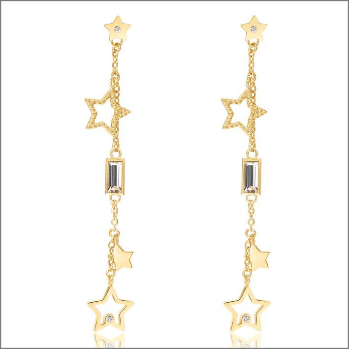 Orecchini in acciao pvd oro e cristalli Swarovski