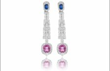 White gold pink sapphire (7.39 ct), blue sapphire (1.32) and diamond (7.65 ct) earrings set in white gold