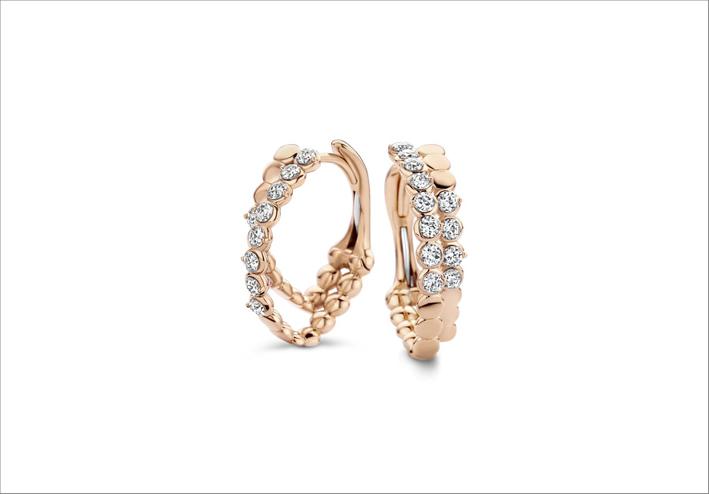 Orecchini a cerchio in oro rosa e diamanti