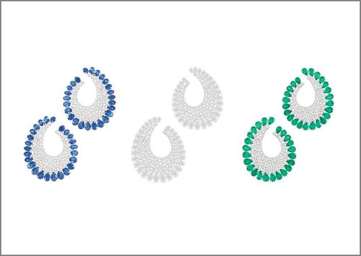 Orecchini con diamanti, smeraldi, zaffiri