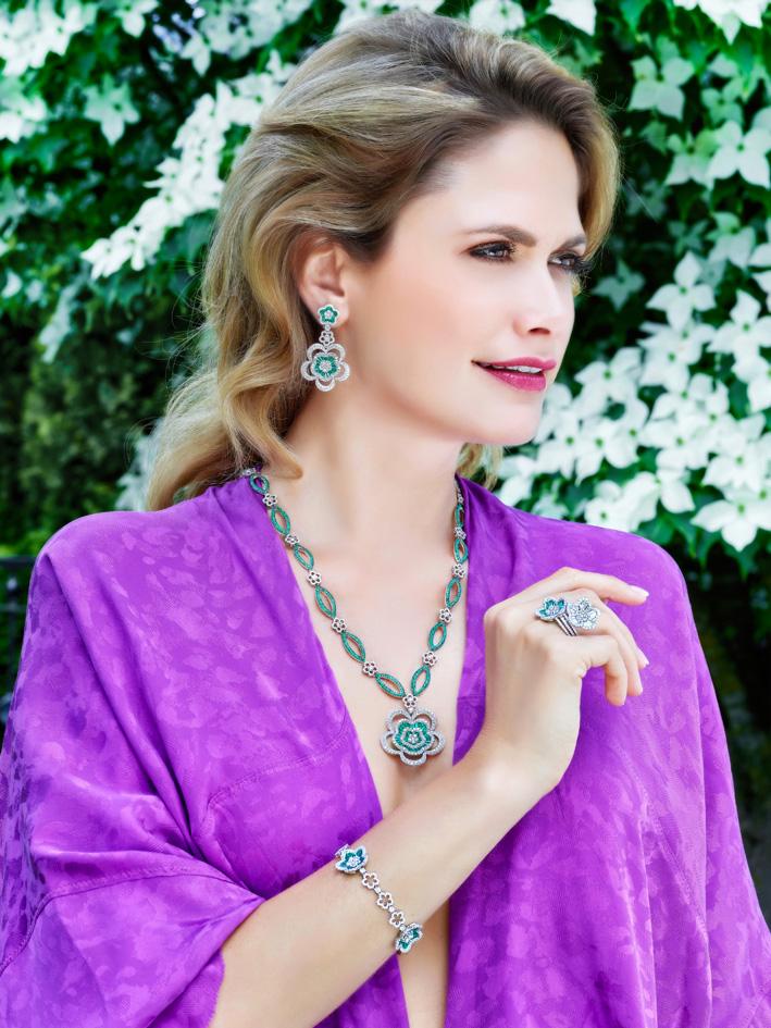 Schreiner, parure di diamanti e smeraldi